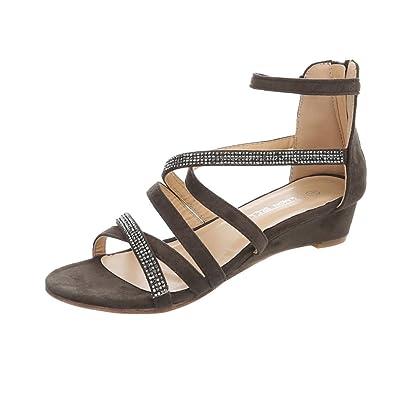 14860ab36f93 Ital-Design Keilsandaletten Damen-Schuhe Keilsandaletten Keilabsatz Wedge  Keilabsatz Reißverschluss Sandalen   Sandaletten