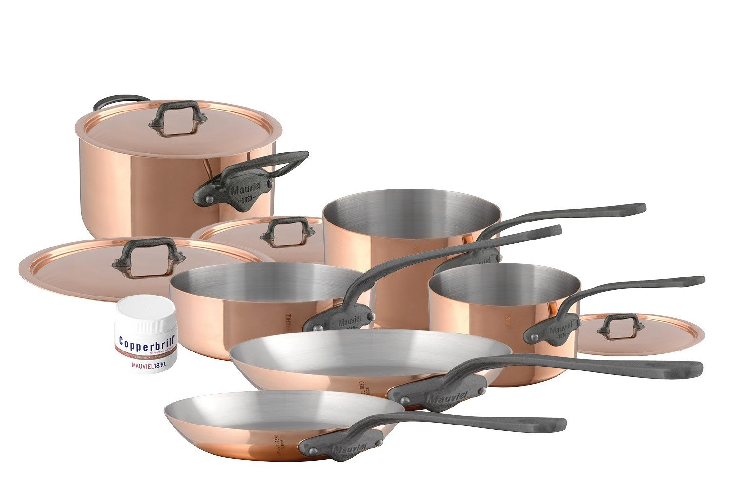 Mauviel M'Heritage M150C2 6450.06-10 Piece Copper Cookware Set Cast Stainless Steel Handle with Iron Color Finish