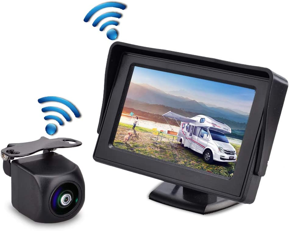 R/ückfahrkamera Kabellos mit 11cm//4.3-Zoll-Monitor , Gizzsh Wireless-R/ückfahrkamera HD Color Night Vision Wireless Einparkhilfe , 230WX