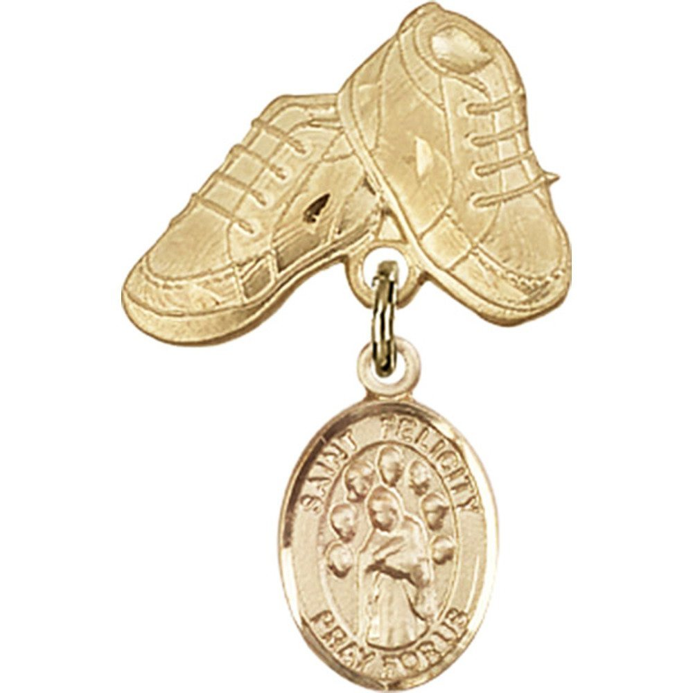 14kt Yellow Gold Baby Badge with St. Felicity Charm and Baby Boots Pin 1 X 5/8 inches