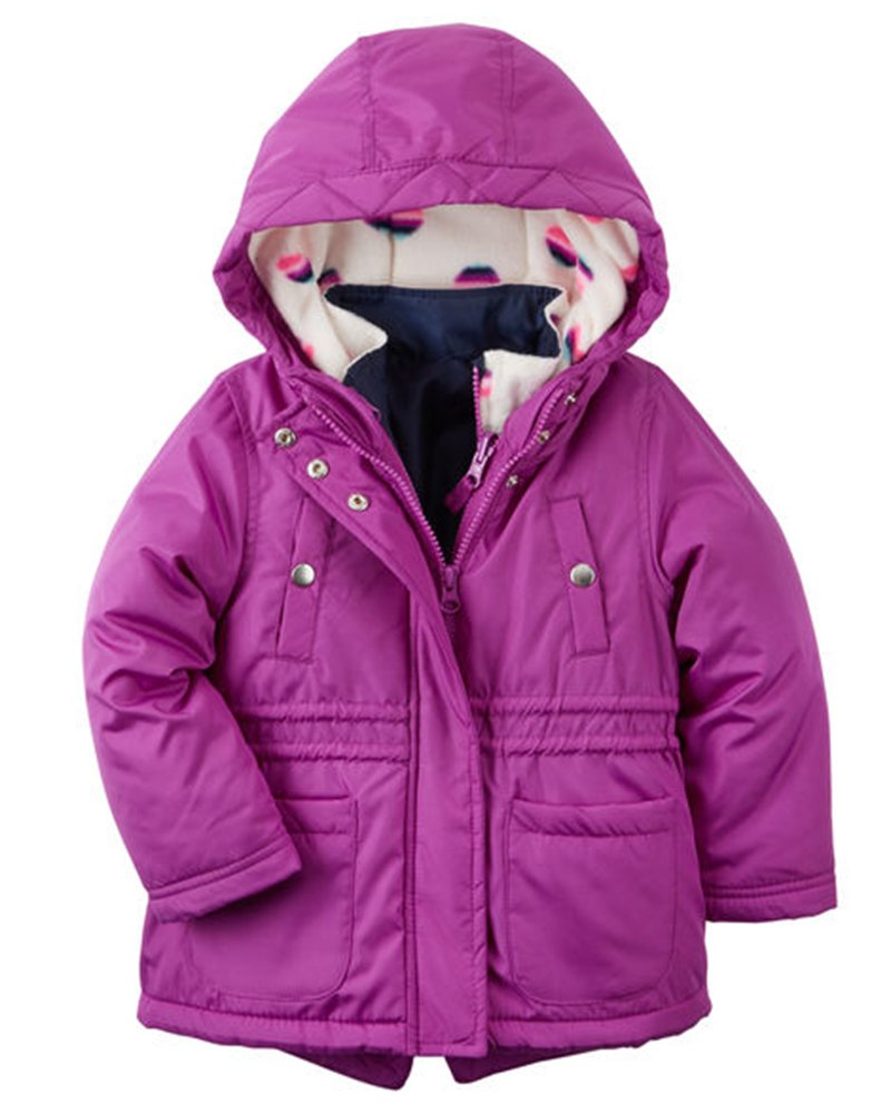Carter's Baby Girls 4 in 1 Heavyweight Systems Jacket, Royal Orchid Hearts, 24M