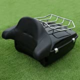 XFMT 13.1'' King Chopped Tour-Pak Luggage Top Rack + King Tour-Pak Backrest Pad - Road Zeppelin Styling Compatible with Harley Road King Electra Glide 2014-2018