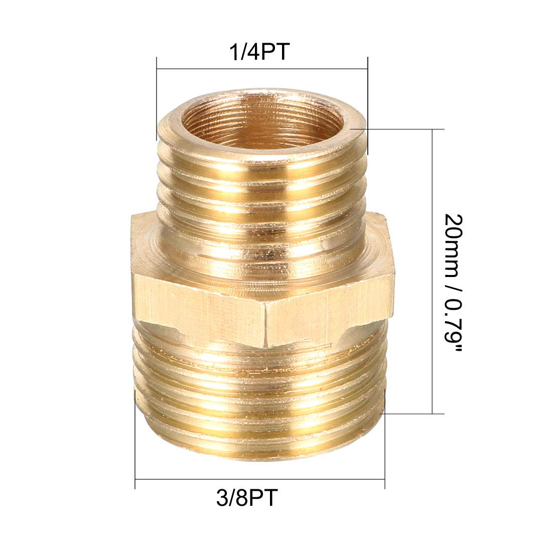 1//2 PT Male x 3//8 PT Male Adapter 2pcs Reducing Hex Nipple uxcell Brass Pipe Fitting