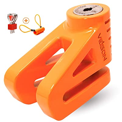 Acekit Disc Lock For Motorcycle and Bicycle With 6mm Lock Pin And Remind Cable Heavy Duty Body No Key To Lock-Orange: Automotive