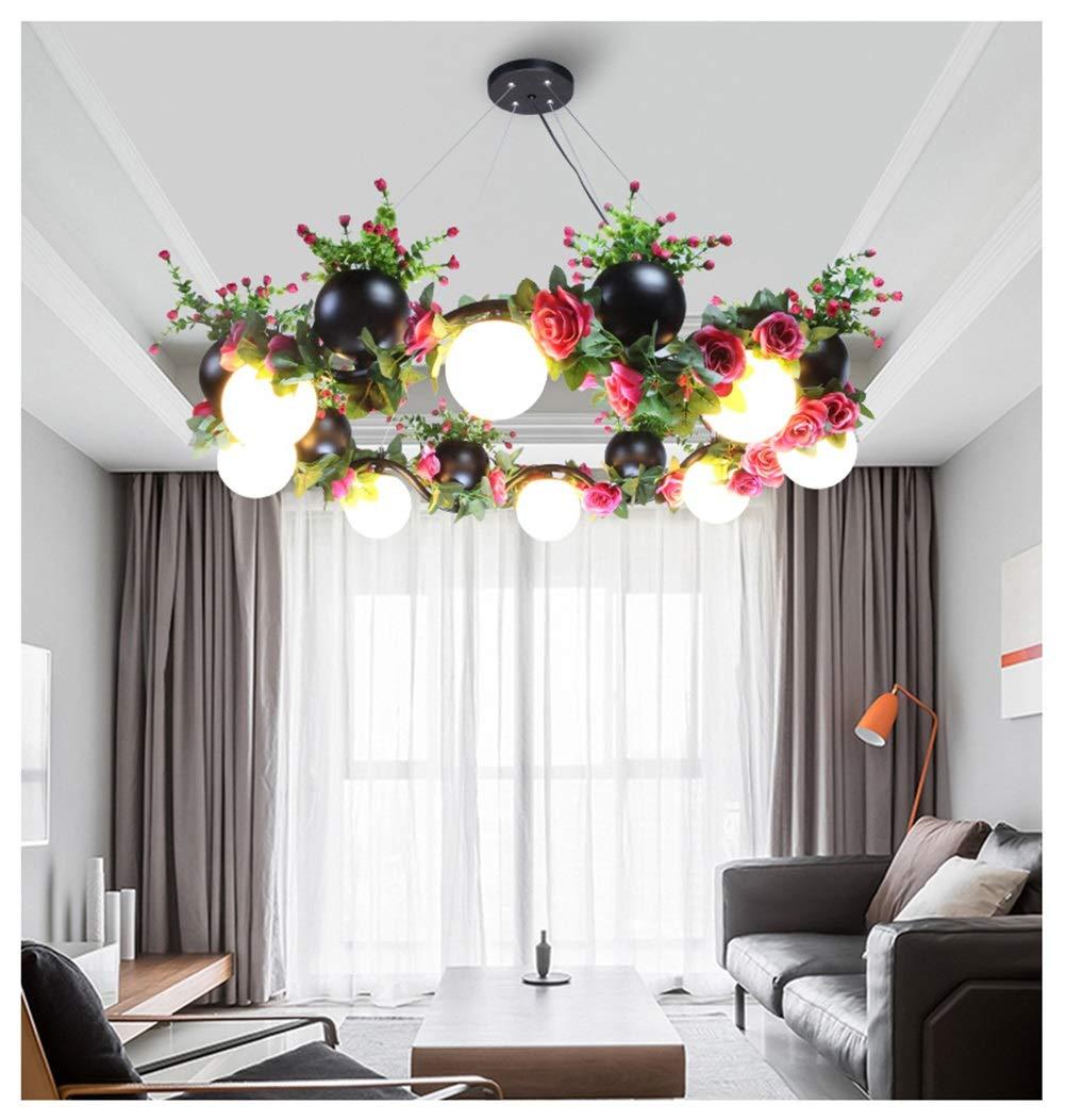HN Lighting 鉢植えのシャンデリアの花と緑の植物のペンダントライトレストランモダンな天井照明シンプルな牧歌的なハングランプ備品 B07Q85H2DN