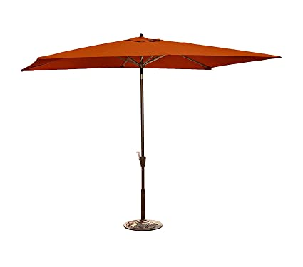 aeeca28f2d9 Amazon.com: Wood & Style Patio Outdoor Garden Premium Adriatic Rectangular  Market Umbrella Acrylic, 6.5' x 10', Terra Cotta: Home & Kitchen