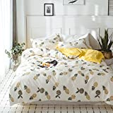 VClife Twin Kids Pineapple Printed Bedding Sets, Fashion Yellow White Reversible Deisgn, 100% Cotton 3 PCS Checkered Bedding Comforter Cover with Pillowcases, Gift for Girl Boy Female (Style 5, Twin)
