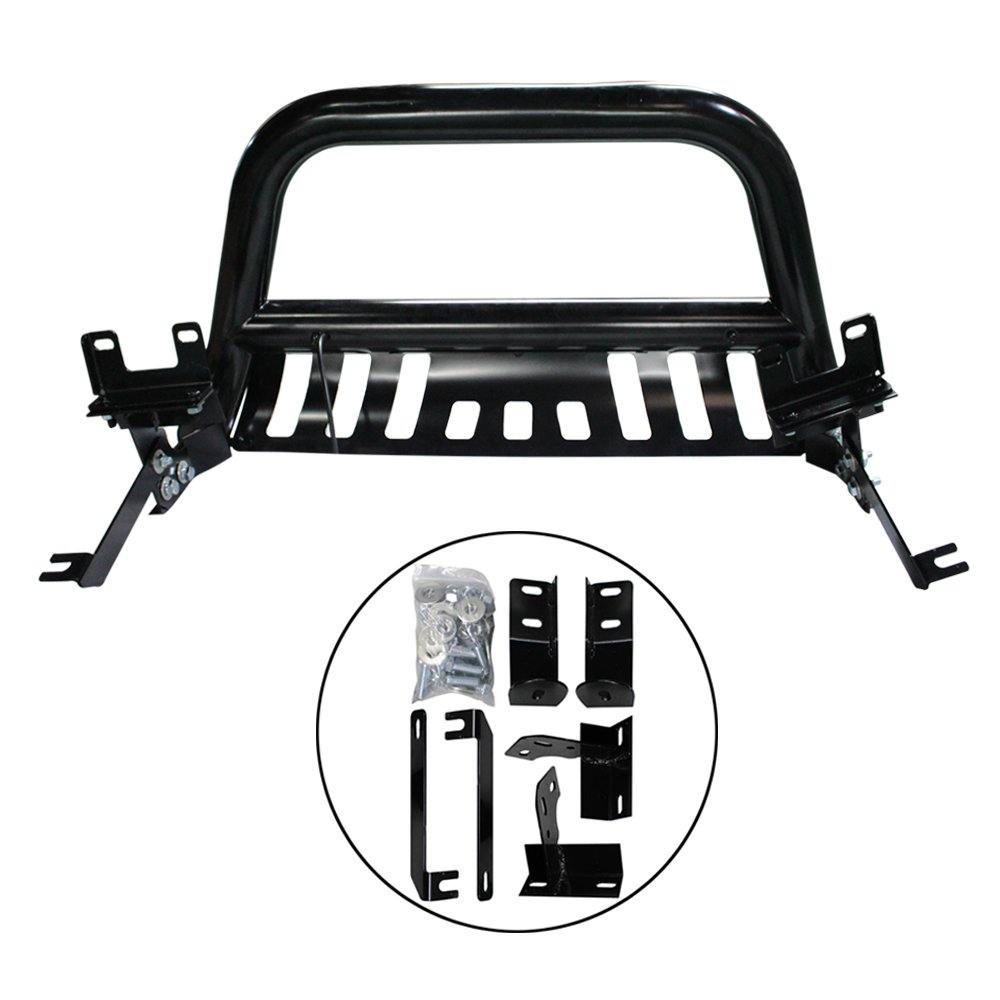 tuokiy Black Led Bull Bar for 2009-2017 Dodge Ram 1500 Brush Push Front Bumper Grille Guard with Integrated 72W Cree Led Light Bar