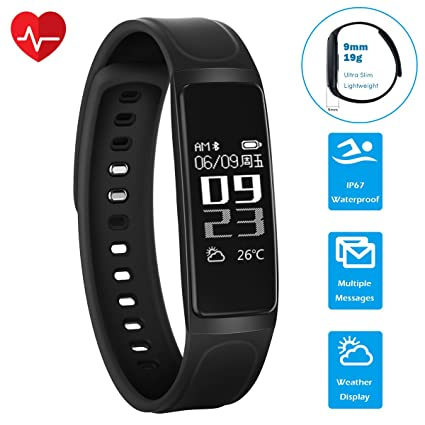 CHEREEKI Pulsera Inteligente, Bluetooth 4.0 Monitor de Pulso cardiaco Pulsera de Fitness Smartwatch