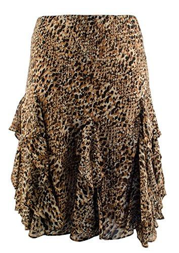 Lauren Ralph Lauren Women's Plus Size Leopard Ruffled Skirt-BM-20W