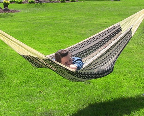 Sunnydaze Mayan Family Hammock Hand-Woven XXL Thick Cord, Heavy Duty 880-Pound Capacity, Black/Natural - EXTRA LARGE SIZE: 156 inches long x 90 inches wide; Bed: 79 inches wide x 90 inches long; Weight capacity: 880 pounds RELAX IN ULTIMATE COMFORT: Made from 80% Cotton and 20% Nylon so it is soft and extremely durable; For both indoor and outdoor use FITS A WHOLE FAMILY: Thick cords for heavy-duty use and maximum comfort, perfect as a double, 2 person, or even a whole family - patio-furniture, patio, hammocks - 61y6lK4lsVL -
