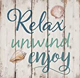 Cheap P. GRAHAM DUNN Relax Unwind Enjoy Seashells Design White Wash 18 x 17 Inch Solid Pine Wood Pallet Wall Sign Plaque