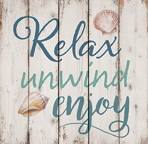 Seashell Plaques - P. GRAHAM DUNN Relax Unwind Enjoy Seashells Design White Wash 18 x 17 Inch Solid Pine Wood Pallet Wall Sign Plaque