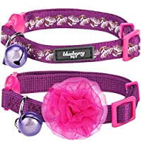 """Blueberry Pet Multiple Designs Breakaway Cat Collar with Vary Package, Pack of 2 Collars with Flower or Pack of 1 Bowtie Collar with European Crystal Bead on Fish Charm, Neck 9""""-13"""""""