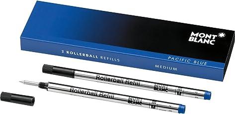 Montblanc - Recambios para bolígrafo de punta redonda de secado rápido para bolígrafos Montblanc Rollerball y Fineliner, Pacific Blue, Mediano