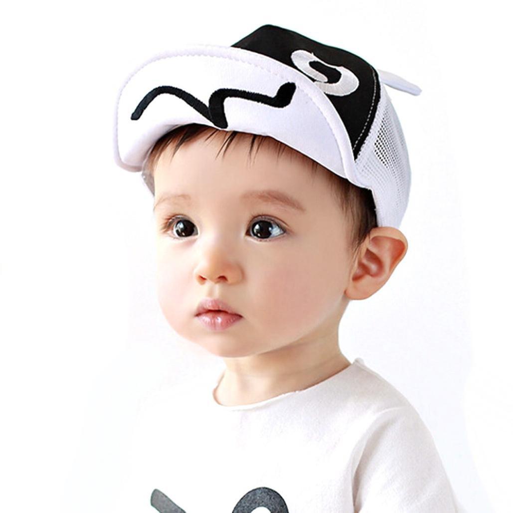 Geyou® Kids Hats,Summer Mesh Soft Brim Flanging Sun hat Baseball Cap for Baby Boy Girls New (White)