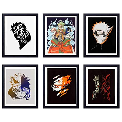 MS Fun Legend of Ninja Japanese Anime Uzumaki Naruto Uchiha Sasuke Art Prints,Set of 6,8 x 10 Inches,No Frame