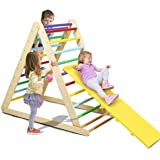 Costzon Foldable Triangle Ladder with Ramp, 3 in 1 Toddler Wooden Activity Climber for Sliding & Climbing, Safety Kids Indoor