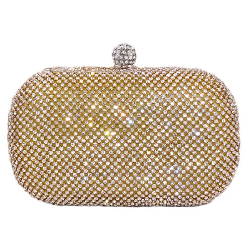 Glamour Evening Bag Crystal Hard Case Clutch Handbag Purse for Women with Detachable Chains, Gold