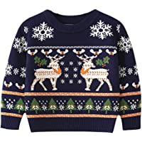 Baby Boys Girls Christmas Sweater Toddler Reindeer Knit Sweater Shirt Cotton Crew Neck Pullover Tops