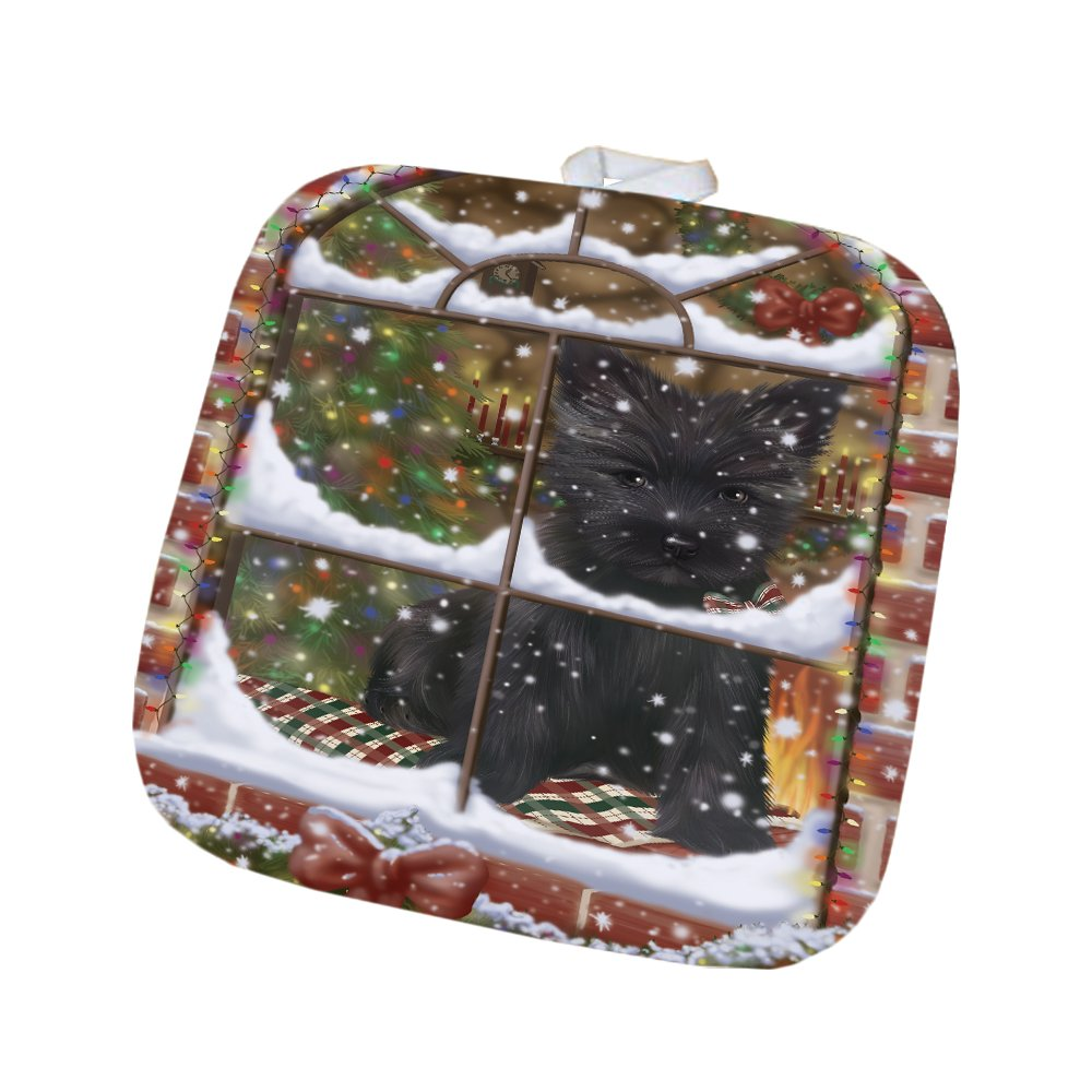 Please Come Home For Christmas Cairn Terrier Dog Sitting In Window Pot Holder POT48377