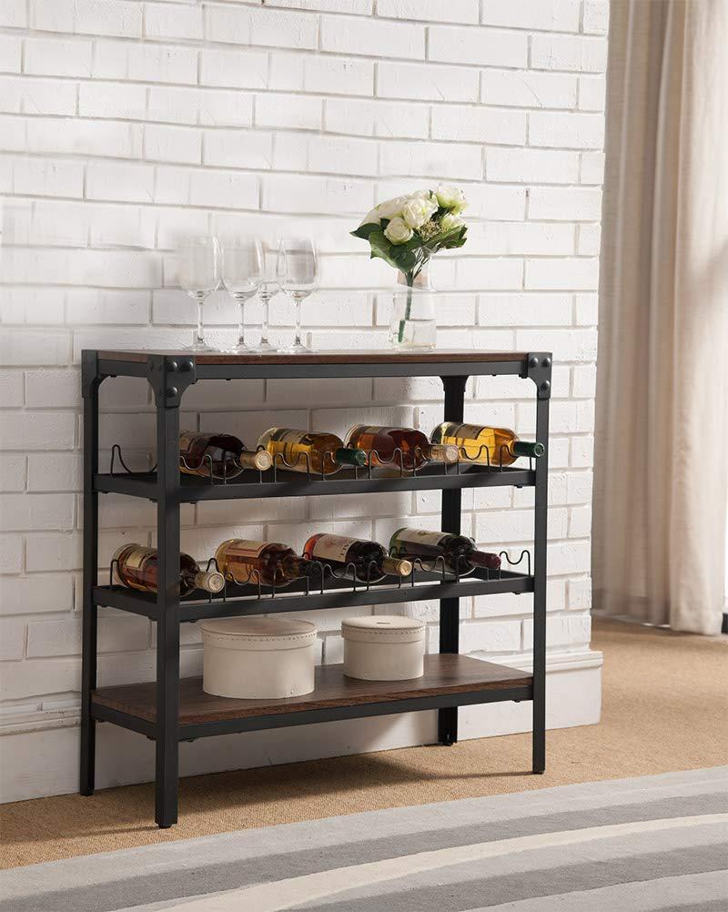 K & B Furniture WR1253 Black & Walnut Wood & Metal Storage Wine Rack