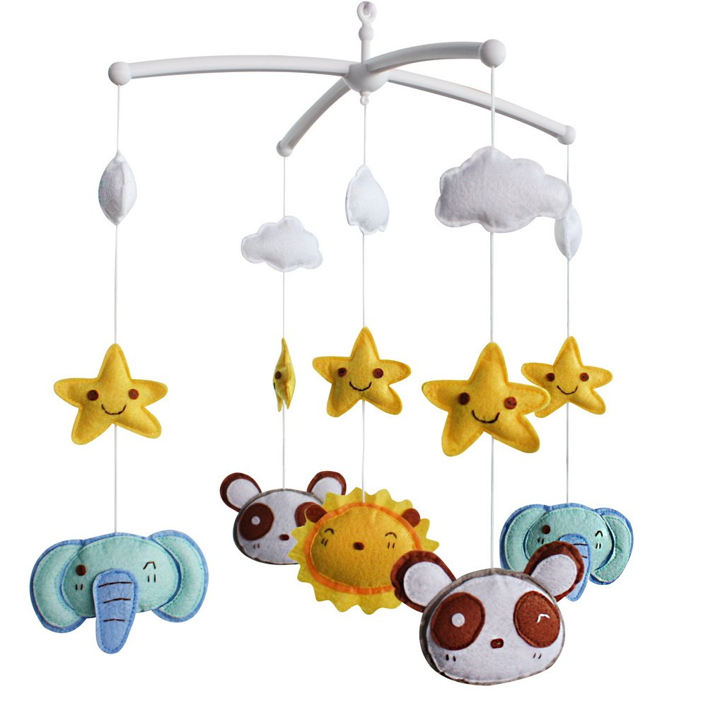Baby Crib Mobile Bed Bell Toy Holder Arm Bracket Wind-up Cartoon Music Box