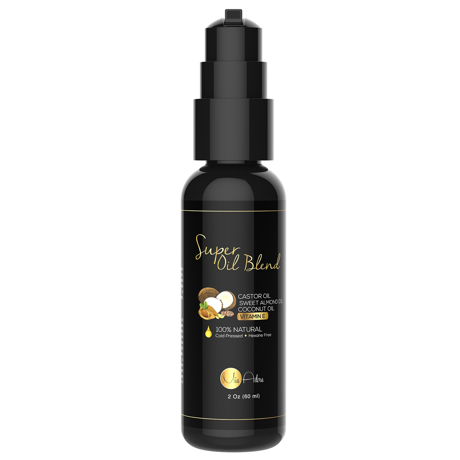 PURE Castor Oil with Sweet Almond Oil, Coconut Oil and Vitamin E Oil - Best Hair Growth, Regrowth, Conditioning Oil Blend for Eyelashes & Eyebrows. 100% Natural - NO Parabens, Fillers or Toxins