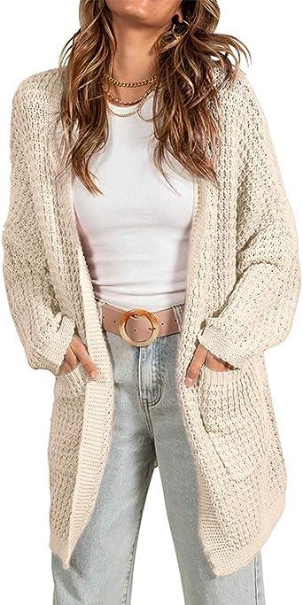 Imily Bela Women's Oversized Long Cardigans Sweater Batwing Sleeve Open Front Slouchy Lightweight Knitwear