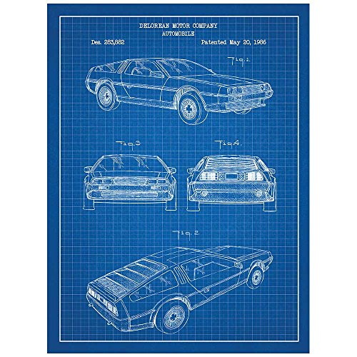 Inked and Screened SP_AUTO_283,882_BG_24_W Automobiles Et Al Delorean Print, Blue Grid-White Ink, 18