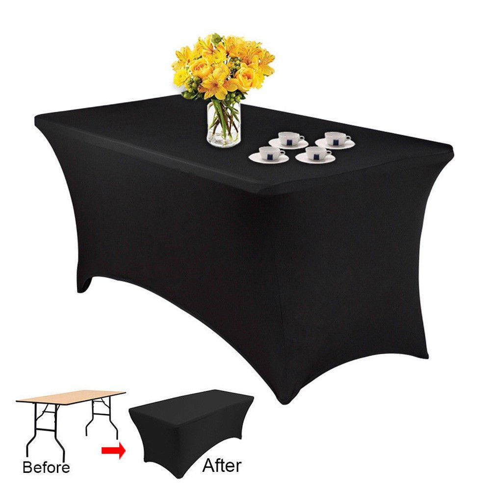 5 Pcs 8FT Spandex Fitted Stretch Tablecloth Black Table Cover Wedding Banquet Party