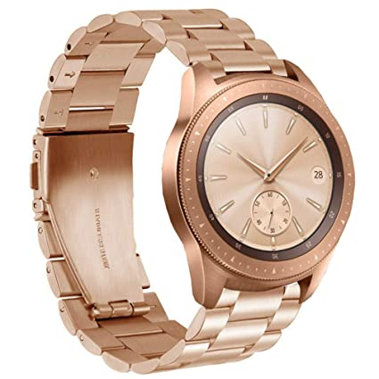 Olytop Compatible Galaxy Watch 42mm Band Rose Gold Women 20mm Stainless Steel Metal Replacement Wristbands Bracelet For Samsung Galaxy Watch Active