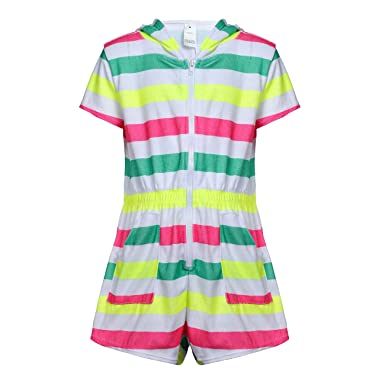 7d10a0e28e8c9 DAYU Girls Hooded Terry Romper Zip Fornt Swim Cover Up with Pockets,  Colorful Stripes,
