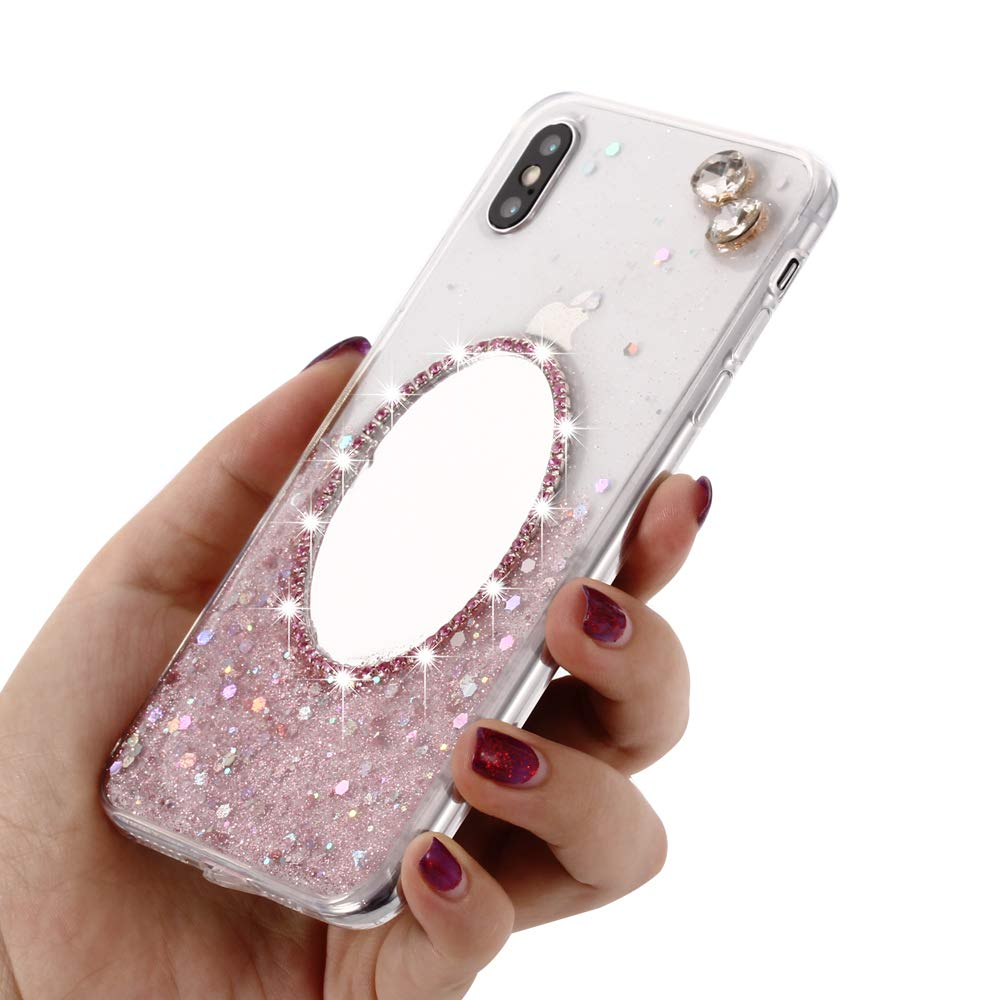 iPhone XR Case Silver Solomo Women Cute Luxury Glitter Embed Diamond with Soft TPU Crystal Clear Slim Back Cover Case Anti Slip for Apple iPhone Xr 6.1 inch 2018