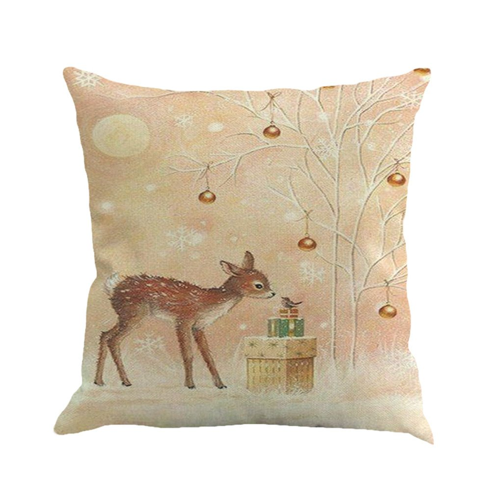 Bird Gift Box Deer Rabbit Pattern Couch Cover 18 x 18 Inch Street Light Dogs charmsamx Christmas Snowing Printing Dyeing Throw Pillow Covers for Sofa Bed Home Decor Snowman
