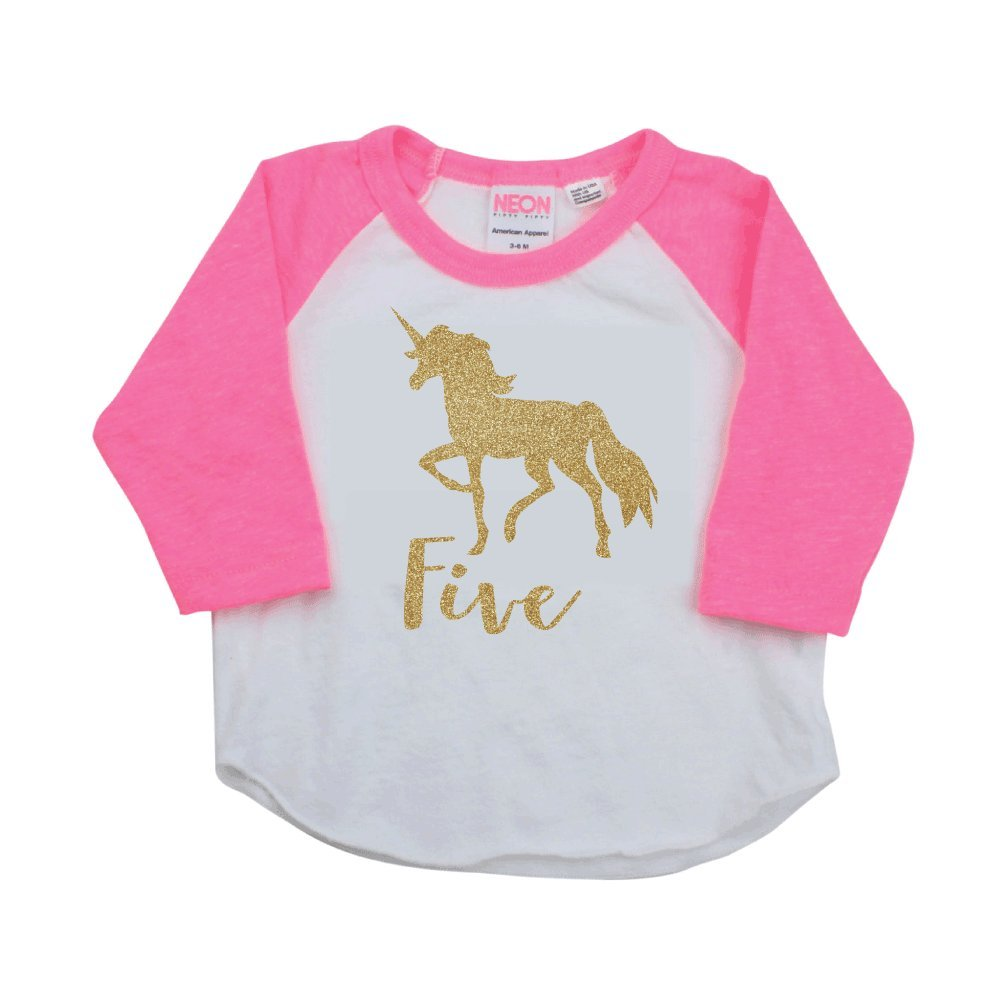 Unicorn Shirt 5th Birthday Outfit for Girls