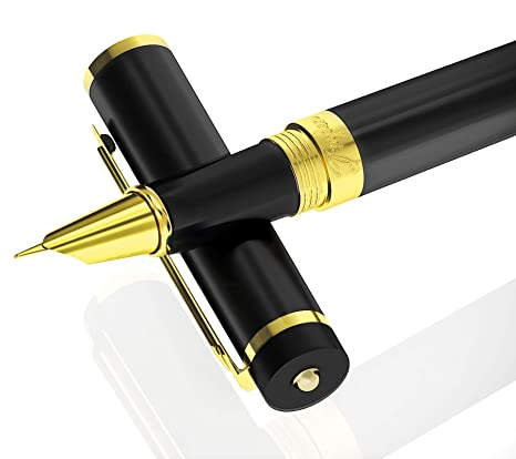 6f90658942a6 DRYDEN Fine Nib Fountain Pen [INTENSE BLACK WITH GIFT BOX] - BEST Fountain  Pens