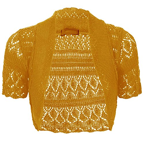 3d8327eb34c Thever Women Short Sleeve Knitted Crochet Shrug Bolero Cardigan Ladies Crop  Top (L(14-16)