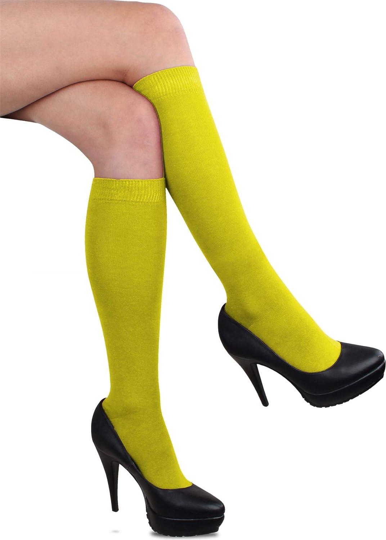 GearUp Bunte Kniestr/ümpfe f/ür Damen Baumwollkniestr/ümpfe mit farbig abgesetztem Bund
