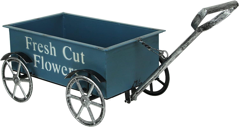 Rustic Blue Fresh Flowers Wagon Planter Stand Cart Indoor Outdoor Garden Decor