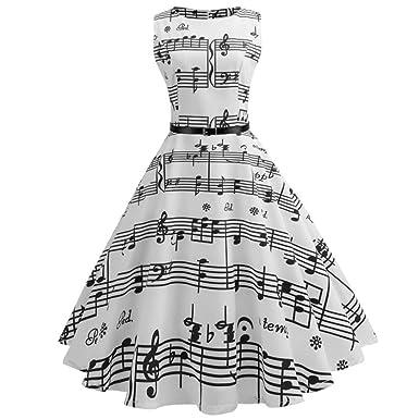 50er Vintage Kleider,Resplend Damen Vintage Noten Drucken A-linie Ohne Arm Rockabilly  Kleid a04564d463