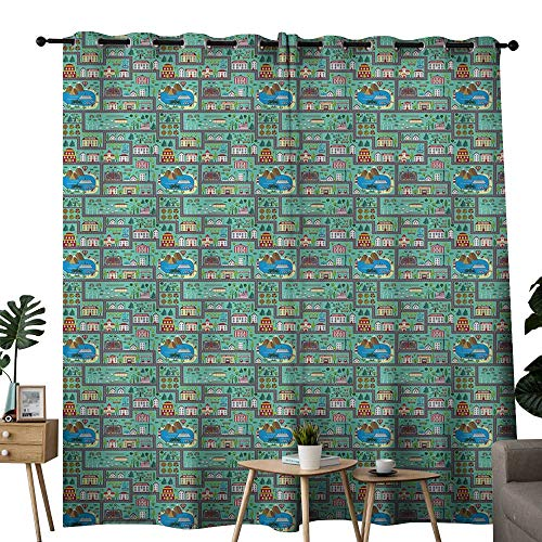 LewisColeridge Bedroom Curtain Kids Car Race Track Roadway Activity,Lively Town Components Illustration Cartoon Style,Multicolor,Insulating Room Darkening Blackout Drapes ()