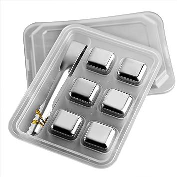 BESTONZON 6PCS Cubos de hielo reutilizables del acero ...