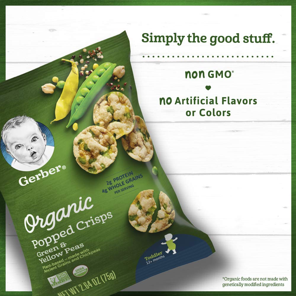 Gerber Organic Popped Crisps, Green & Yellow Peas, 2.64 oz Bag (Pack of 4)
