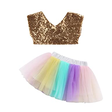 37f525c833ef Toddler Baby Girl Sequins Vest Tank Top+Rainbow Tulle Tutu Skirt Dress 2Pcs  Outfits Clothes