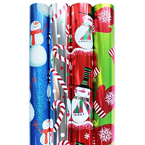 Premium Foil and Hologrphic Christmas Holiday Wrapping Paper Rolls - Pack of 4 Rolls 160SQFT HOLO Blue Snowman, Metallized Silver Big Candycanes, Whimsical Snowman in Red, Warmly Gloves in Lime Green