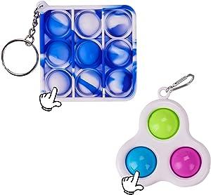 2 Pcs Mini Push pop Bubble Fidget Sensory Toys, Mini Keychain-Toy, Bubble Popper Relief Anxiety Autism Toy, Simple Dimple Fidget,Food Grade Silicone (Blue + Triangle)