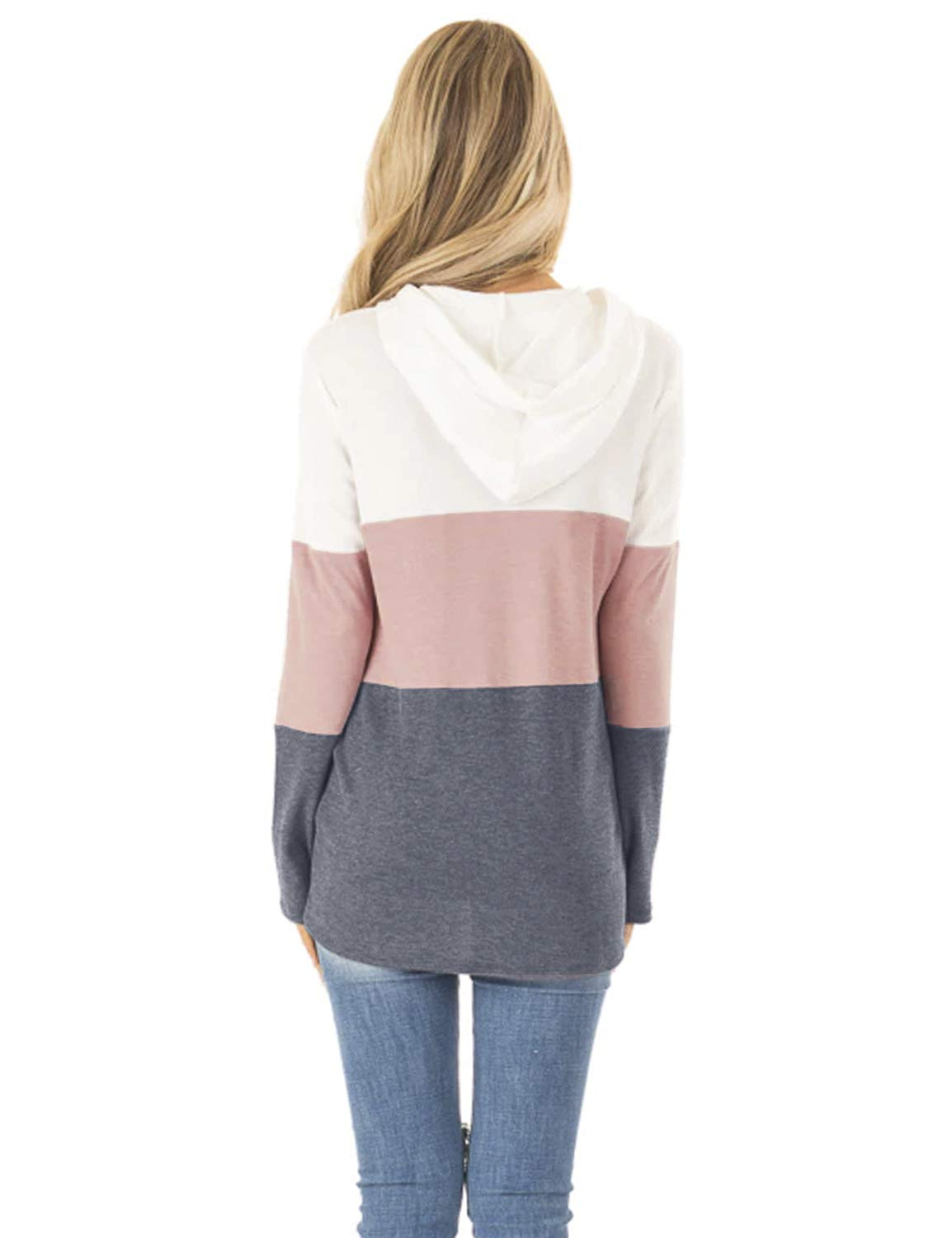Blooming Jelly Womens Pullover Hoodie Long Sleeve Colorblock Drawstring Hooded Sweatshirt Top with Pocket(L,Pink