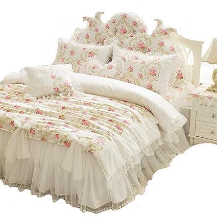 53545dfd26 LELVA Girls Bedding Set Lace Ruffle Duvet Cover Sets with Bed Skirt  Princess Bedding Set Vintage