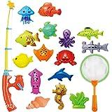 CozyBomB Kids Fishing Bath Toys Game - 17Pcs Magnetic Floating Toy Magnet Pole Rod Net, Plastic Floating Fish - Toddler Educa